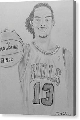 Joakim Noah Canvas Print by Estelle BRETON-MAYA