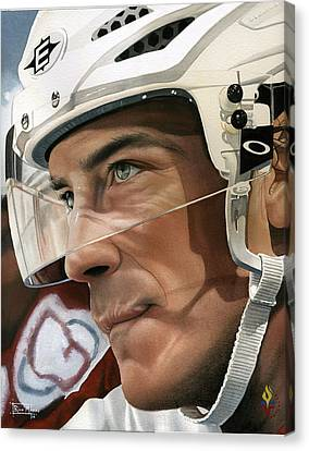 Joe Sakic Canvas Print by Rich Marks