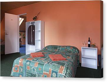 Jogeva County A Double Bed In A Bedroom Canvas Print by Jaak Nilson
