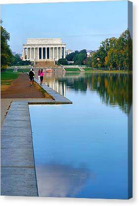 Jogging Canvas Print - Jogging To The Memorial by Steven Ainsworth