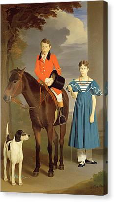 John Gubbins Newton And His Sister Mary Canvas Print by Robert Burnard