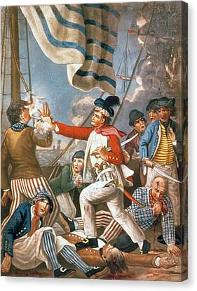John Paul Jones Shooting A Sailor Who Had Attempted To Strike His Colours In An Engagement Canvas Print by John Collet