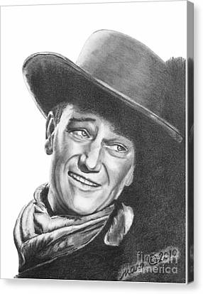 Canvas Print featuring the drawing John Wayne   Dreamer by Marianne NANA Betts