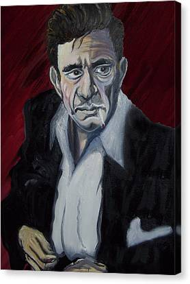 Johnny Cash Canvas Print by David Fossaceca