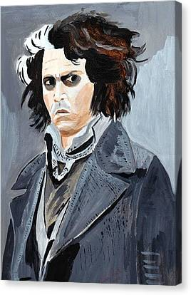 Canvas Print featuring the painting Johnny Depp 6 by Audrey Pollitt