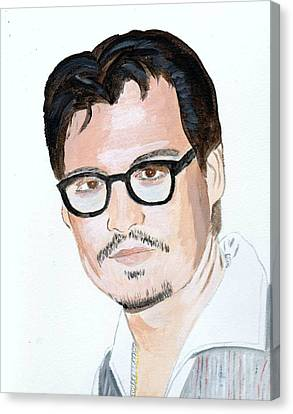 Canvas Print featuring the painting Johnny Depp 7 by Audrey Pollitt