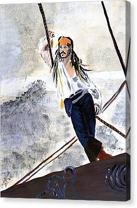 Canvas Print featuring the painting Johnny Depp 8 by Audrey Pollitt