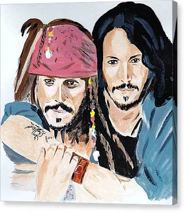 Canvas Print featuring the painting Johnny Depp X 2 by Audrey Pollitt