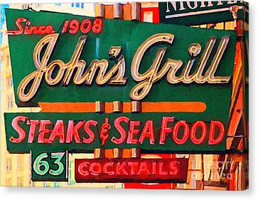 Johns Grill In San Francisco . Home Of The Maltese Falcon Canvas Print by Wingsdomain Art and Photography