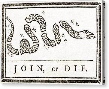 Join Or Die French And Indian War Canvas Print by Photo Researchers