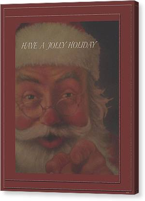 Jolly Santa Card Canvas Print by Debra     Vatalaro