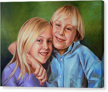 Canvas Print featuring the painting Jonathan And Jessica by Nancy Tilles