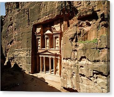 Jordan, Petra, The Treasury (al Khazna) Canvas Print by Jon Arnold