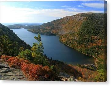 Jordan Pond In Autumn From North Bubble Acadia National Park Canvas Print by John Burk