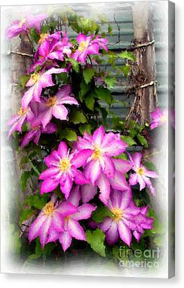 Canvas Print featuring the painting Joy Clematis by Susan Fisher
