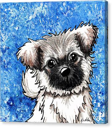 Joyous Blue Tibetan Spaniel Canvas Print by Kim Niles