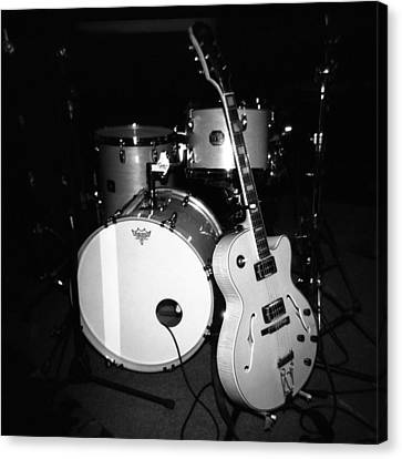 Jp Soars Guitar And Drum Kit Canvas Print by Kathy Hunt