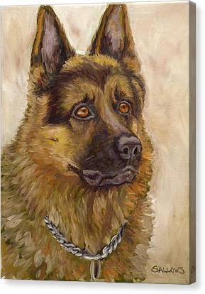 Judge A German Shepherd Canvas Print by Nora Sallows