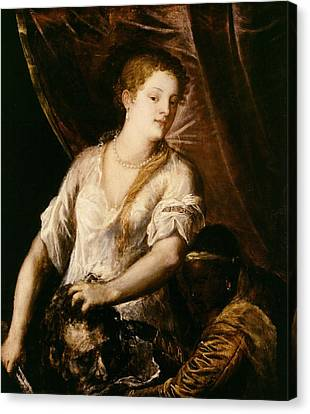 Judith With The Head Of Holofernes Canvas Print by Tiziano Vecellio Titian