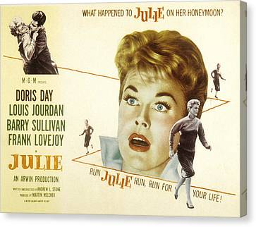 1956 Movies Canvas Print - Julie, Louis Jourdan, Doris Day, 1956 by Everett