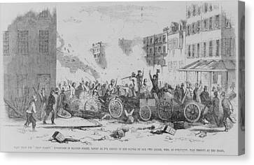 July 4 1857 Battle On Bayard Street Canvas Print by Everett