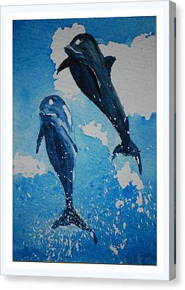 Canvas Print featuring the painting Jump For Joy.......miniature by Lynn Hughes