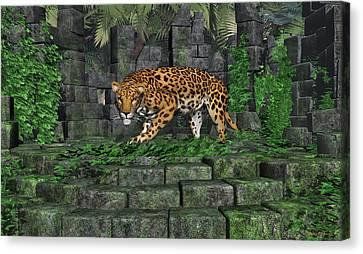 Jungle Ruins Jaguar Canvas Print by Walter Colvin