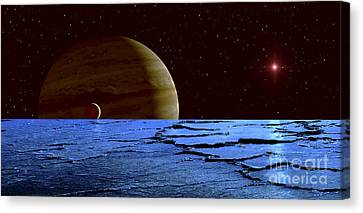 Jupiter And Its Moon Lo As Seen Canvas Print by Frank Hettick