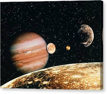 Jupiter And The Galilean Moons Seen From Callisto Canvas Print by