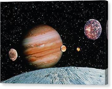 Jupiter And The Galilean Moons Seen From Leda Canvas Print by