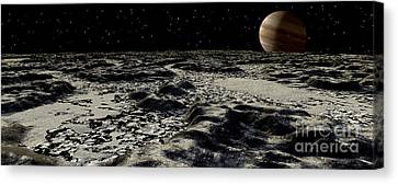 Jupiters Moon, Europa, Covered Canvas Print by Ron Miller