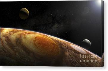 Jupiters Moons Io And Europa Hover Canvas Print by Steven Hobbs