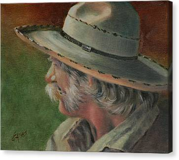 Character Study Canvas Print - Just An Old Cowhand by Linda Eades Blackburn