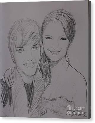 Justin And Selena Canvas Print by Amanda Li