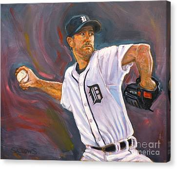 Justin Verlander Throws A Curve Canvas Print by Nora Sallows