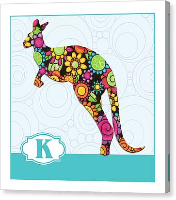 K Is For Kangaroo Canvas Print by Elaine Plesser
