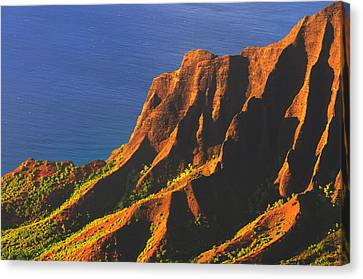 Kalalau Valley Sunset In Kauai Canvas Print by Hegde Photos