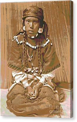 Native American Clothes Canvas Print - Kalispel Girl by Padre Art