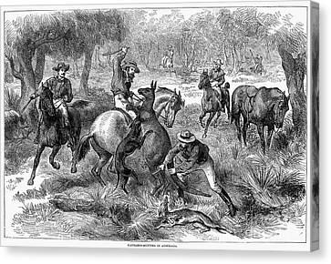 Kangaroo Hunting, 1876 Canvas Print by Granger