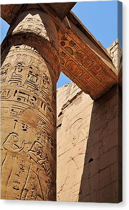 Karnak Temple Columns Canvas Print by Michelle McMahon