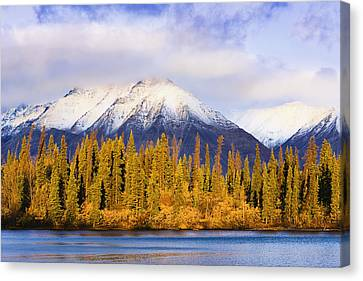 Kathleen Lake And Mountains At Sunrise Canvas Print by Yves Marcoux