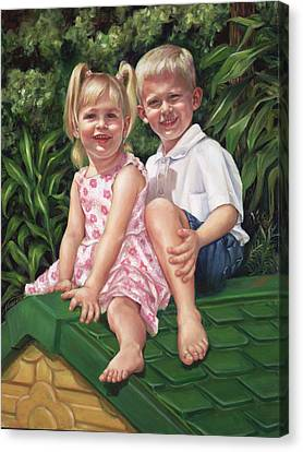 Canvas Print featuring the painting Katie And Mitchell by Nancy Tilles