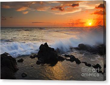 Kauai Sunset Explosion Canvas Print by Mike  Dawson