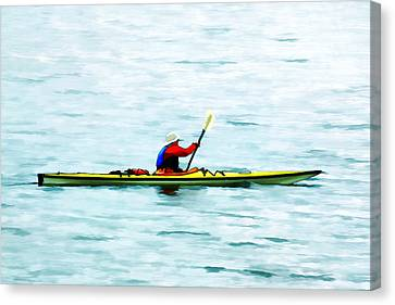 Kayak Out On The Bay Canvas Print by Tracie Kaska
