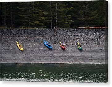 Kayak Shore Canvas Print