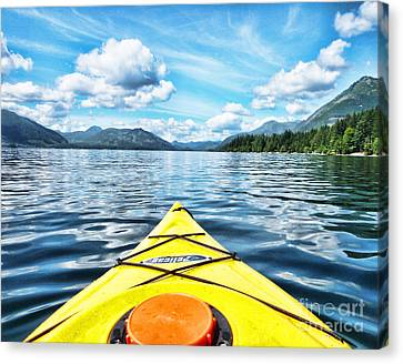 Kayaking In Bc Canvas Print by Traci Cottingham