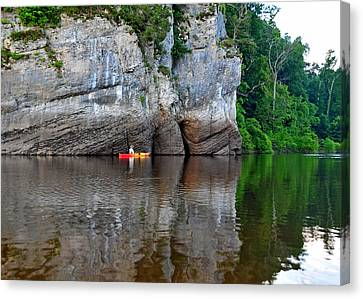 Kayaking The Big Muddy Canvas Print by Donna Caplinger