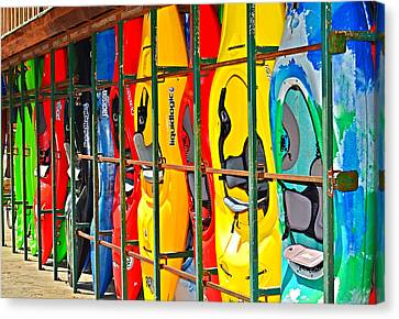 Kayaks In A Cage Canvas Print by Susan Leggett