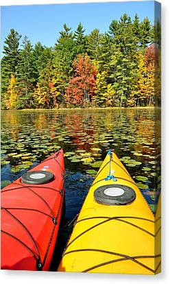 Canvas Print featuring the photograph Kayaks In The Fall by Rick Frost