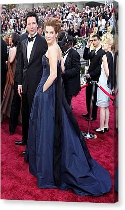 Keanu Canvas Print - Keanu Reeves, Sandra Bullock Wearing An by Everett